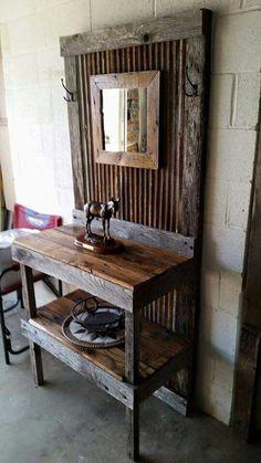 Wooden Pallet Furniture, Timber Furniture, Entryway Furniture, Farmhouse Furniture, Pallet Wood, Rustic Furniture, Wood Pallets, Pallet Projects, Home Projects