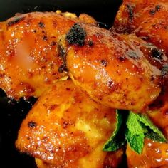 Enjoy the flavors of this quick and easy fiesta chicken. The chicken is braised stove top, but is finished under the broiler; the time under the broiler gives the chicken a lovely orange glow. Bone-in thighs used for this preparation with the skin removed prior to cooking.