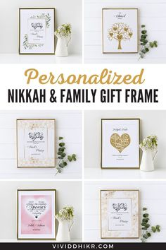 Personalized Islamic Wedding Gift Poster | Are you looking for the best personalized Islamic, nikkah, and family posters for your loved ones? These unique posters will be the perfect handmade keepsake for any occasion and it is sure to add a personalized touch to any home. Collect these awesome wedding posters. #PersonalizedWeddingGift #IslamicWeddingGiftPoster #WeddingGiftPoster #GiftPoster #WeddingPoster #Poster #vividdhikr Personalized Posters, Personalized Wedding Gifts, Family Gifts, Couple Gifts, Family Poster, Wedding Posters, Unique Poster, Islamic Wall Art, Muslim Couples