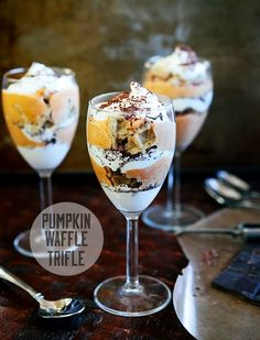 This pumpkin waffle trifle is a good alternative to pumpkin pie—crispy, creamy and delicious!
