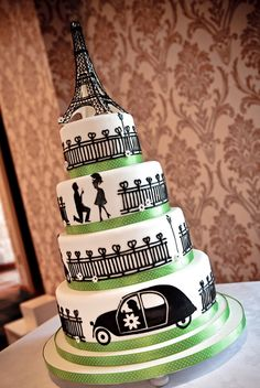 I *squeeeeeed* when I saw this!!!  Cake and Eiffel Tower and green... *le sigh*  Amour!!!