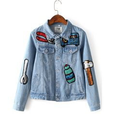 Light Blue Button Front Sequined Jacket (€32) ❤ liked on Polyvore featuring outerwear, jackets, blue jackets, blue sequin jacket, sequin jacket and light blue jacket