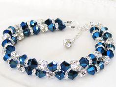 Crystal Blue Wedding Bracelet, Metallic Blue Bridal Bracelet, Beach Wedding Bracelet, Bridesmaids Bracelet - FREE SHIPPING