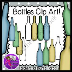 Bottles clip art - color & black line from Graphics Resource Force on TeachersNotebook.com -  (12 pages)  - A selection of bottles without labels that come in 3 different styles and 3 different colors (blue, green and brown).  All images are 300dpi png files, with transparent backgrounds great for layering, and all come with black and white versions too!