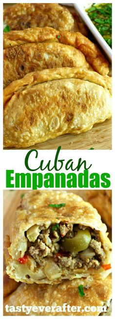 This is the BEST Cuban Empanadas recipe ever! So good with chimichurri sauce!This is the BEST Cuban Empanadas recipe ever! So good with chimichurri sauce! Comida Latina, Mexican Food Recipes, Beef Recipes, Cooking Recipes, Latin Food Recipes, Mexican Drinks, Vegetarian Mexican, Shrimp Recipes, Easy Recipes
