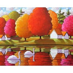 Fine art print reproduction, swans and colorful autumn trees, rippling river reflection, featuring vibrant colors in a modern abstract folk style.