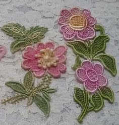 Pink Flower Butterfly Hand Dyed Venise Lace от RavioleeDreams