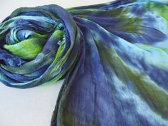 Blue Olive Chartreuse Green Hand Dyed Incredibly Soft and Light Tie Dye Fringed Scarf olive mlou olivemlou olive m'lou