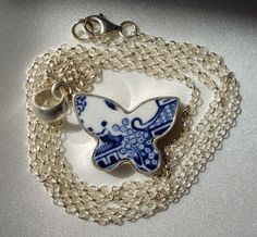 Butterfly Blue and White Broken Willow China Plate Pendant(not including chain)