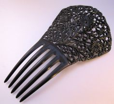 Vintage Antique Mantilla Black Hair Comb by BrightEyesTreasures, $69.00