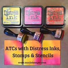 Celebrating National Craft Month, Colorful Artist Trading Cards (ATCs) with Distress Inks, Stamps & Stencils (Tutorial) Marjie Kemper