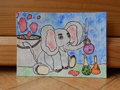 Elephant painting  Cute animal art  Original by CuteCreationsByLea, $8.00
