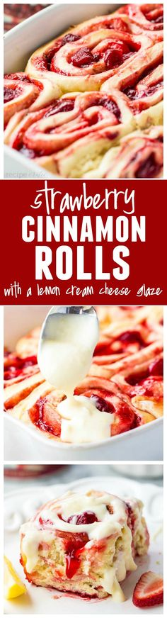 Strawberry Cinnamon Rolls with Lemon Cream Cheese Glaze - Delicious quick and easy cinnamon rolls bursting with strawberry pie filling! These are amazing!