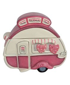 Store sweet treats in retro style with this cookie jar boasting a colorful camper design for quirky appeal. Barrel Cake, Kitchen Jars, Decor Logo, Retro Campers, Cute Cookies, Vintage Vibes, Cookie Jars, Tea Mugs, Cookie Decorating