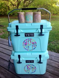 Mother/daughter Seafoam Yeti's monogrammed by Sew Sassy Embroidery, Picayune, MS.