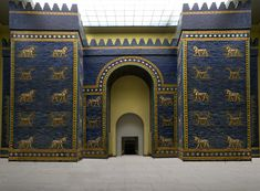 Unknown Artist: Ishtar Gate (c. 575 BCE) Pergamon Museum, Berlin. In about 575 BCE, Nebuchadnezzar II, King of the Babylonian Empire and destroyer of the First Temple in Jerusalem, ordered the construction of a new gate in the north section of the city of Babylon, to be dedicated to the goddess Ishtar.  The gate had two sections – the front gate smaller than the one behind it – and was constructed of glazed blue bricks, with bas reliefs of aurochs (young bulls) and dragons.