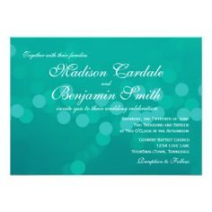 Modern Aqua Blue Green Bokeh Wedding Invitations