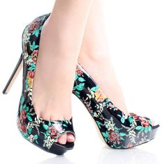 Black-Patent Floral Peep Toe Women Stiletto High Heel Platform Shoes
