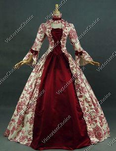 Renaissance Victorian Period Dress Antique Floral Print Gown Theatre Quality Women Costume 138B