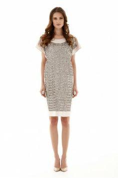 METALLIC BEIGE OBLONG DRESS