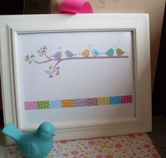 Colorful Bird Print for child or baby room- Personalization 8.5 by 11