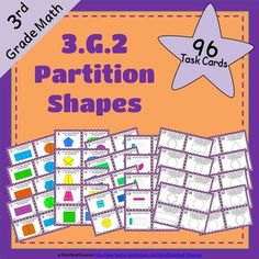 3.G.2 Task Cards: Partition Shapes:First 24 Hours: 50% OffThese 96 unique task cards are aligned with the Common Core Standard 3.G.2  Several types of questions help you assess how thoroughly your students understand this standard.Task cards are great for a whole-class game, math centers/stations, fast finishers, extra practice, homework, scavenger hunt, quiz-quiz-trade, morning work, small groups, or review for test.3.G.2.