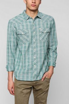 Salt Valley Delco Chambray Plaid Western Shirt from Urban Outfitters, $54.00