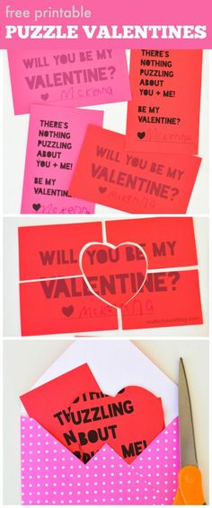 Kids can work on their cutting skills with these free printable puzzle valentines