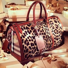 Cutest bag ever!  What could be better, leopard print and Burberry check! Women's fashion accessories handbags purses