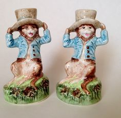 Vintage Set of 2 Petite Choses USA Hand Painted Monkey Candle Holders Lovely