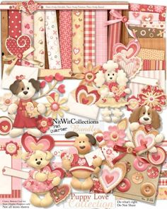 Digital scrapbooking cute Valentine's Day dog and card making Valentine's Day dog kit.  See how our cute Poodle even had her hair done! FQB - Puppy Love Collection
