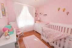 Soft feminine nursery. #nursery