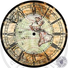 Antique Map DIY 2 Large Clock Faces 12 Digital by CobraPrints- $4.20- download to make a clock