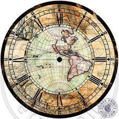 Antique Map DIY 2 Large Clock Faces 12 Digital by CobraPrints- $4.20- download to make a clock