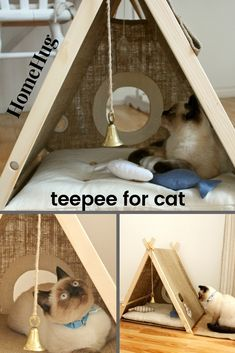 """Play pet house - """"ship"""", marine cat teepee with pillow and hammock . - Play pet house – """"ship"""", navy cat teepee with pillow and hammock – house - Cat Tipi, Diy Cat Tent, Diy Pour Chien, Cat House Diy, Wooden Cat House, Dog Food Storage, Storage Ideas, Pet Furniture, Luxury Furniture"""