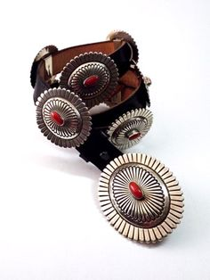 Belt - Coral and Sterling Silver Concho by Tom Jim (Navajo)