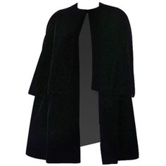 Pre-owned 1967 Couture Christian Dior Velvet Cape ($3,200) ❤ liked on Polyvore featuring outerwear, coats, jackets, coats & jackets, cape, coats and outerwear, black slip, black cape coat, velvet coat and cape coat