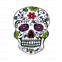 2 Round  Flower Sugar Skull  Edible CakeCupcake Party Topper * Click on the image for additional details.