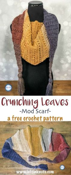 The Crunching Leaves Mod Scarf features all the best warm fall tones with just one cake of Lion Brand Mandala yarn! This trendy triangle scarf will keep you warm all fall and winter long. Read more for the free modern crochet pattern. Special stitch descriptions make this pattern easy - even for beginners!