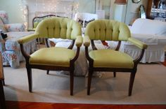 Vintage Tufted Arm Chairs with Lime Green Fabric by RetroDaisyGirl, $475.00