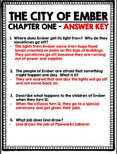 The City of Ember - Chapter by chapter comprehension questions and answer keys!