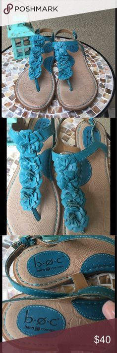 🆕BOC by Born Turquoise leather flower sandals These BOC by Born Turquoise leather sandals embellished with leather flowerettes  are sooooo perfect for summer! The sole is cushioned giving your feet the ultimate support & comfort! EUC ✅I ship same or next day ✅Bundle for discount b.o.c. Shoes Sandals