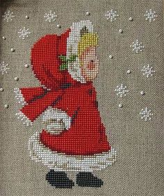 Little blond girl with red riding hood and holly 123 Cross Stitch, Cross Stitch Tree, Cross Stitch Needles, Cross Stitch Charts, Cross Stitch Designs, Cross Stitch Patterns, Cross Stitch Christmas Ornaments, Christmas Cross, Cross Stitching