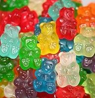 Vodka-soaked Gummi Bears. Drunk gummy bears! :) Adults only. Soak a bag of gummy bears in vodka for 3 to 5 days in the fridge. The Gummy Bears will soak it all up! Serve at a party for a bit of fun and something different! :)
