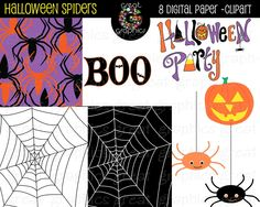 Printable Halloween Spider Paper and Digital Clip Art  $6
