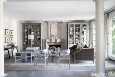 Beautiful in Grey by Mary McDonald.. – Greige Design What about painting the den cabinets a darker greige?