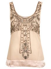 Miss Selfridge beaded top in ivory and pewter(?), vintage 1910/1920's style.