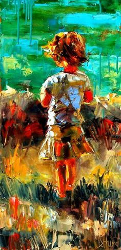 """Artists Of Texas Contemporary Paintings and Art - """"Sarah's Joy""""Impressionist Little Girl Art Child at Beach Painting Figurative Paintings by Debra Hurd"""