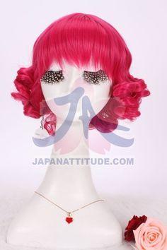 Perruque courte rose magenta avec boucles 30cm, fashion lolita