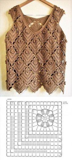 Beautiful blouses made with crochet square ⋆ Facing The Sea - Beautiful blouses made with crochet square - Débardeurs Au Crochet, Pull Crochet, Mode Crochet, Crochet Cardigan, Crochet Granny, Crochet Stitches, Crochet Patterns, Crochet Squares, Beautiful Blouses